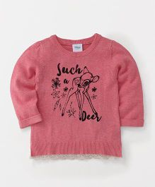 Fox Baby Full Sleeves Sweater Deer Print - Pink