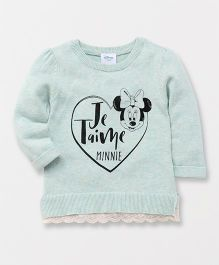 Fox Baby Full Sleeves Sweater Minnie Mouse Print - Green