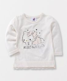 Fox Baby Full Sleeves Sweater Hello Kitty Print - Off White