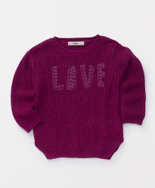 Fox Baby Full Sleeves Sweater Live Design - Dark Purple