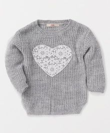 Fox Baby Full Sleeves Sweater Heart Design - Grey