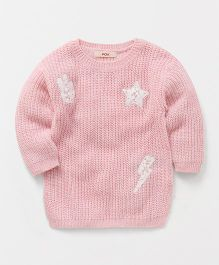 Fox Baby Full Sleeves Sweater With Patch - Pink