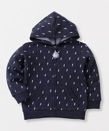Fox Baby Full Sleeves Hooded Sweatjacket Printed - Navy
