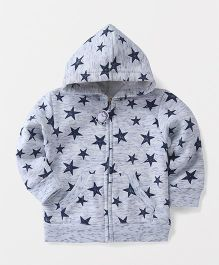 Fox Baby Full Sleeves Hooded Sweatjacket Star Print - Grey