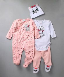Fox Baby Full Sleeves Onesies & Romper With Bootie Legging & Cap Set - White Pink