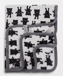Fox Baby Blanket Bear Print - Grey