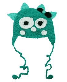 Love Crochet Art Monster Cap Green