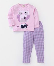 Hauli Kids Cat Print Full Sleeves Tee & Pant Set - Pink & Purple