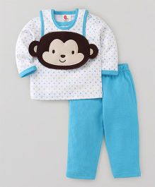 Pretty Kibo Monkey Top & Pajama with Bib Set - Blue & White