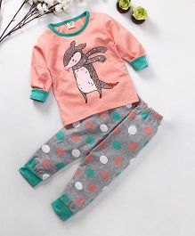 Hauli Kids Animal & Dot Print T-Shirt & Pant Set - Peach