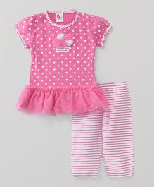 Pretty Kibo Dot Print Top & Pajama - Pink