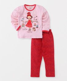 Hauli Kids Girl Print Top & Pant Set - Pink & Red