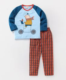 Hauli Kids Animal Print T-Shirt  & Pant Set - Blue & Orange