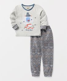 Hauli Kids Honey Print T-Shirt & Pant Set - Grey