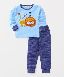Hauli Kids Lion Print Tee & Pant Sets - Blue
