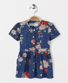 Happiness Gorgeous Flower Print Dress - Blue