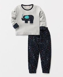 Hauli Kids Elephant Print Tee & Pant Set - Grey & Blue