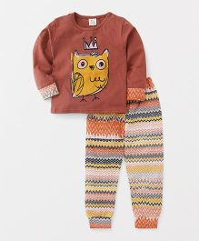 Hauli Kids Bird Print Tee & Pant - Brown