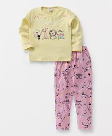 Hauli Kids Animals Print Tee & Pant Set - Yellow & Pink