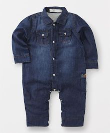 Happiness Collared Denim Romper - Blue