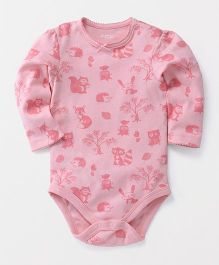 Fox Baby Full Sleeves Onesie Animal Print - Pink