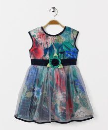 Enfance Sleeveless Dress With Attached Flower - Multicolor