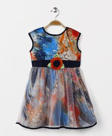 Enfance Sleeveless Dress With Attached Flower - Orange