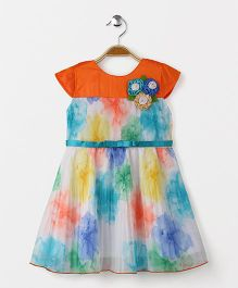 Enfance Printed Dress With Attached Flowers - Multicolor