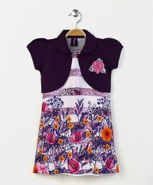 Enfance Floral Print Dress With Puff Sleeves Shrug - Purple