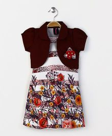 Enfance Floral Print Dress With Puff Sleeves Shrug - Brown
