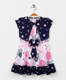 Enfance Core Printed Dress With Shrug - Pink