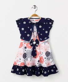 Enfance Core Printed Dress With Shrug - Peach