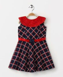 Enfance Core Printed Casual Dress - Navy