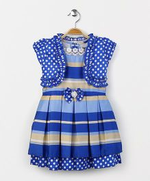 Enfance Core Striped & Polka Dot Dress With Shrug - Blue