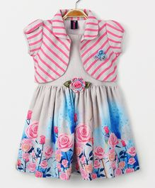 Enfance Core Trendy Dress With Puff Sleeves Shrug - Pink