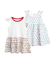 Chic Bambino Lotus Print Dress Set Of 2 - Multicolour