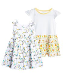 Chic Bambino Multicolour Print Dress Set Of 2 - White & Yellow