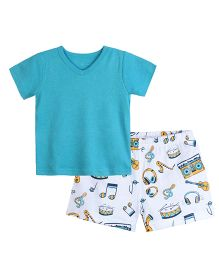 Chic Bambino Music Design Top And Shorts Set - Sea Green