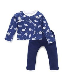 Chic Bambino Cap Print Tee And Pant Set - Navy Blue