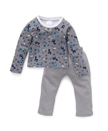 Chic Bambino Reindeer Print Tee And Pant Set - Navy Blue & Grey