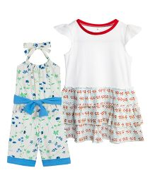 Chic Bambino Frilly Frock And Jumpsuit Set - Multicolour