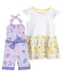 Chic Bambino Floral Frock And Jumpsuit Set - Yellow & Purple