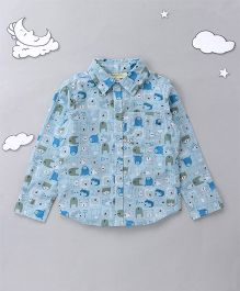 Hugsntugs Teddy Bear Print Shirt - Blue & White
