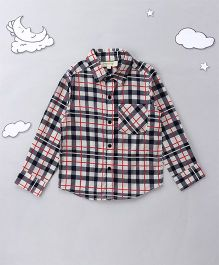 Hugsntugs Multi Check Print Shirt - Navy & White