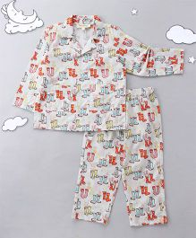 Hugsntugs Boots Print Night Suit - Multicolor