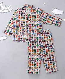 Hugsntugs Superhero Print Night Suit - Multicolor