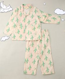 Hugsntugs Cactus Print Night Suit - Off White