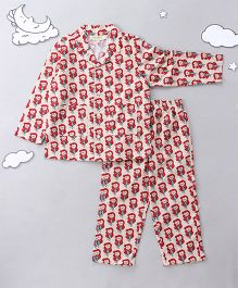 Hugsntugs Cute Mermaid Print Night Suit - Red & Off White
