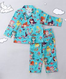 Hugsntugs Mermaid Printed Night Suit - Blue