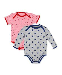 Kadambaby Star Print Onesies Pack of 2 With Bag - Grey Pink